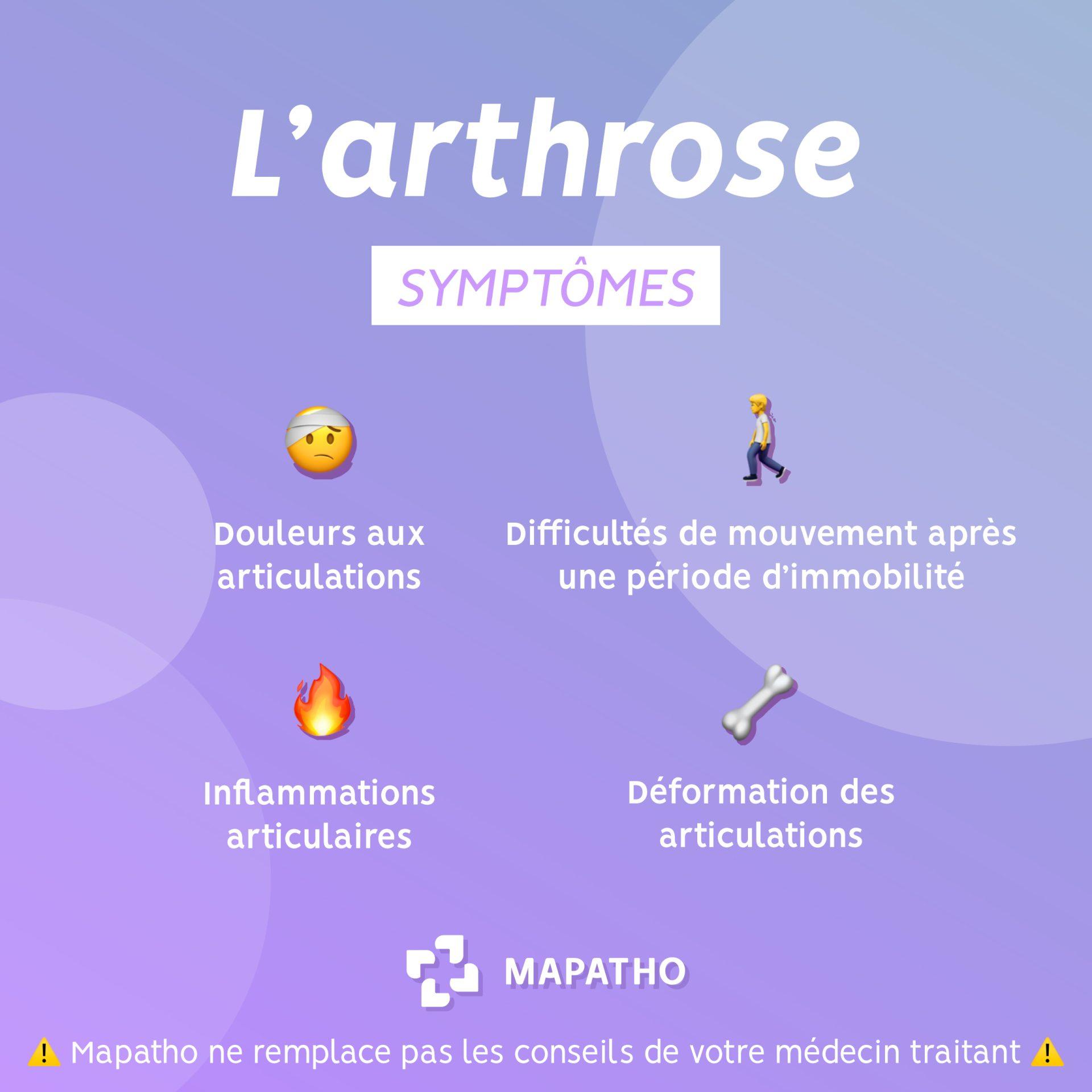 Les symptomes de l'arthrose