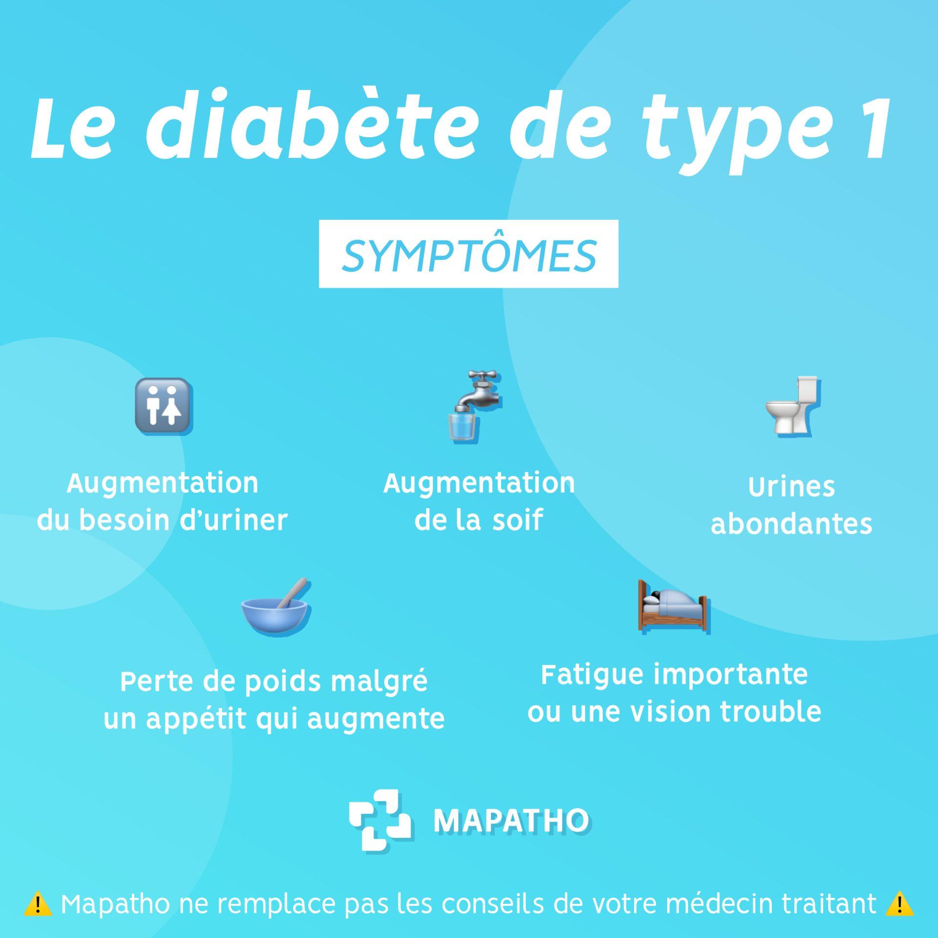 Les symptomes  du diabete de type 1