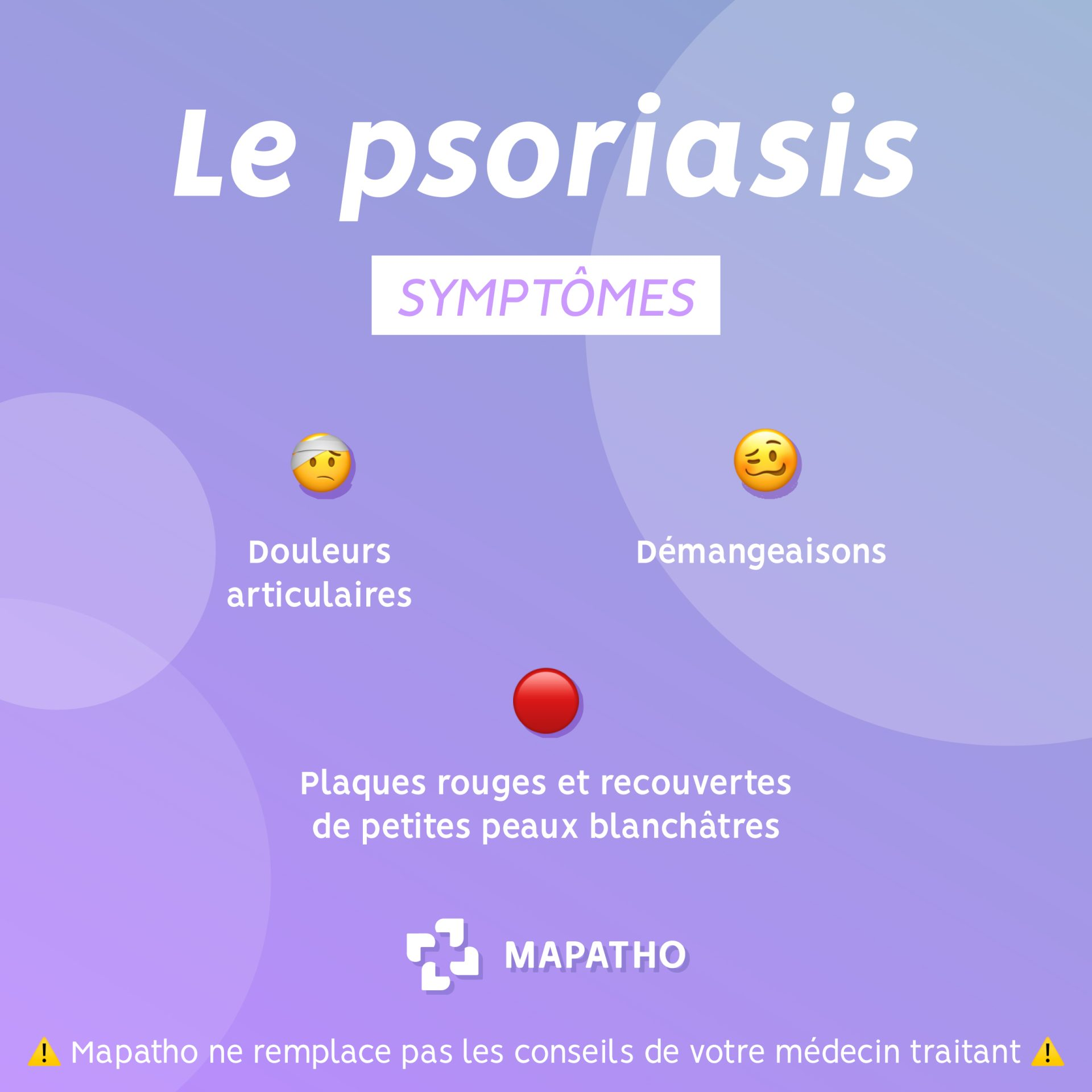 Les symptomes du psoriasis