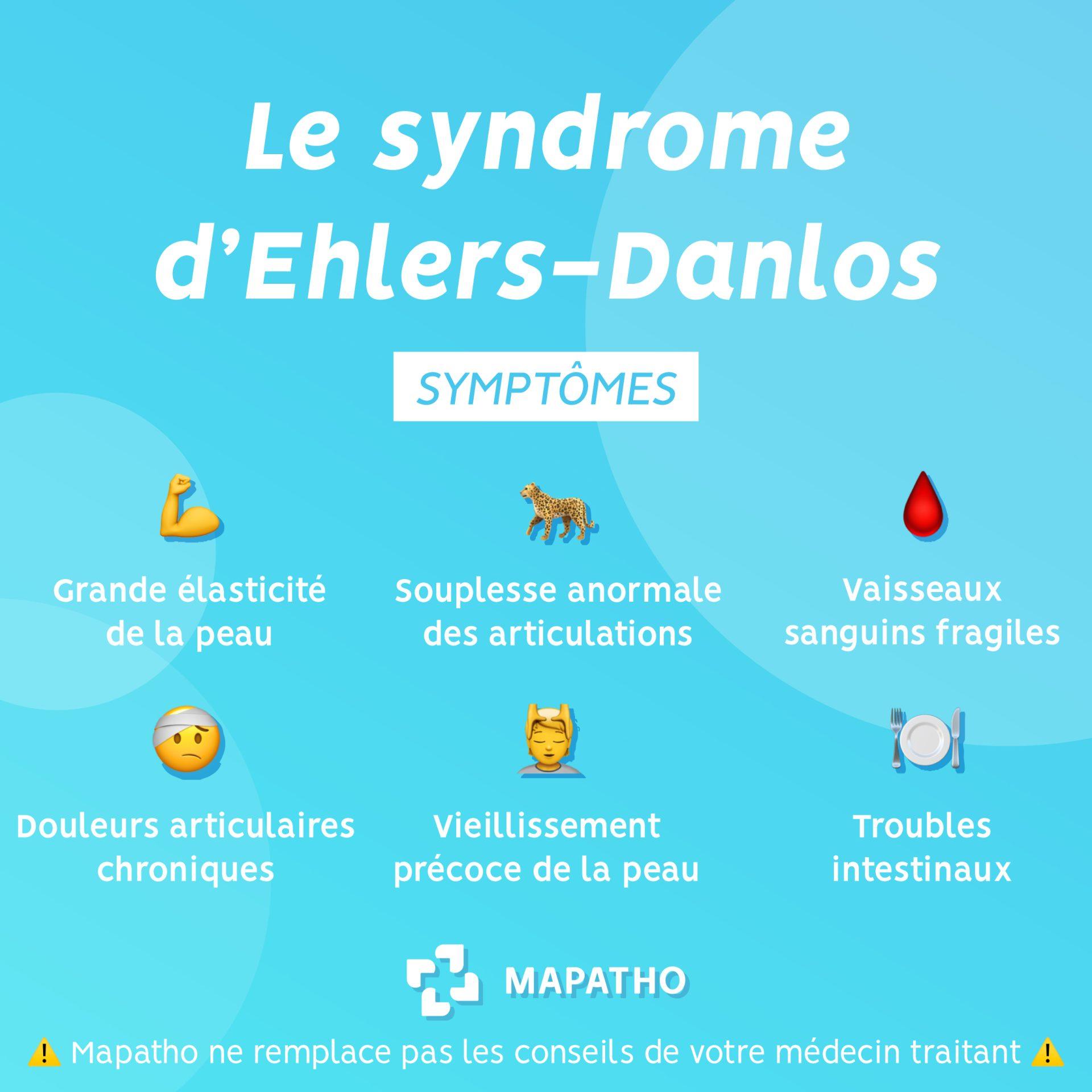 symptomes du syndrome d'ehlers Danlos