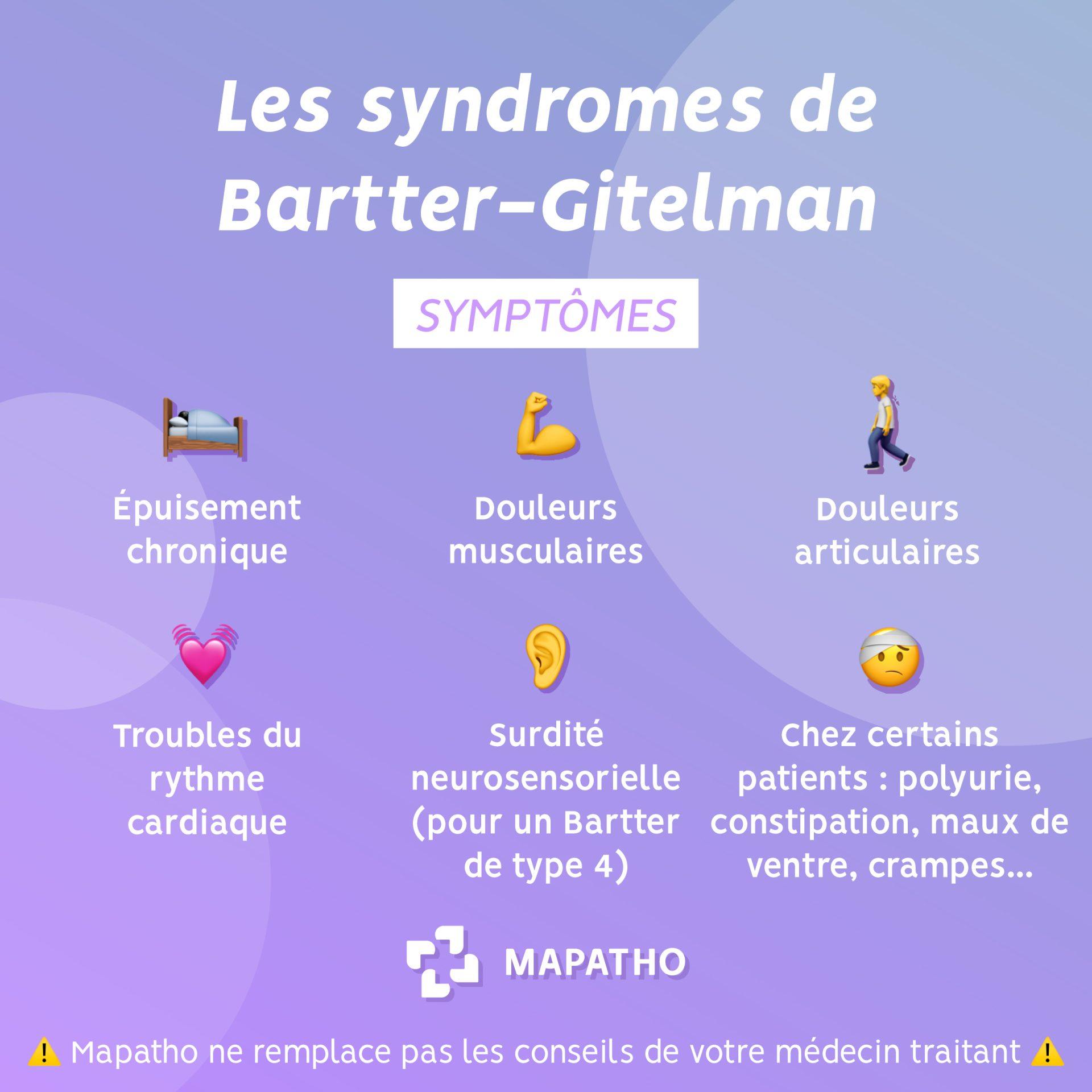 Les symptomes des syndromes de Gitelman et de Bartter